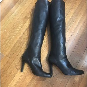 Black tall leather boots